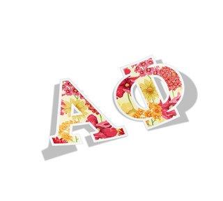 Alpha Phi Floral Greek Letter Sticker