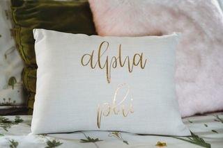 Alpha Phi Gold Imprint Throw Pillow