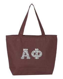 Alpha Phi Greek Letter Zipper Tote