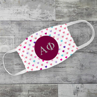 Alpha Phi Hearts Face Mask