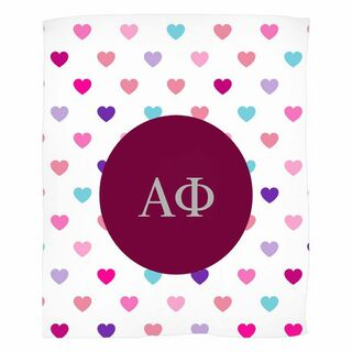 Alpha Phi Hearts Fleece Blanket