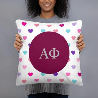 Alpha Phi Hearts Pillow