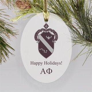 Alpha Phi Holiday Color Crest - Shield Ornament