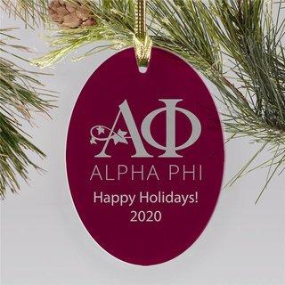 Alpha Phi Holiday Color Mascot Christmas Ornament