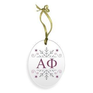 Alpha Phi Holiday Color Snowflake Christmas Ornament