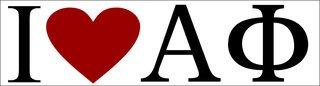 Alpha Phi I Love Bumper Sticker