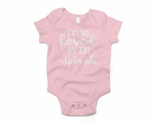 Alpha Phi I'm So Loved Baby Outfit Onesie