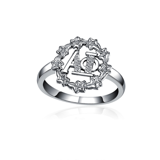 Alpha Phi Ivy Leaf Sterling Silver Ring set with Lab-created Diamonds