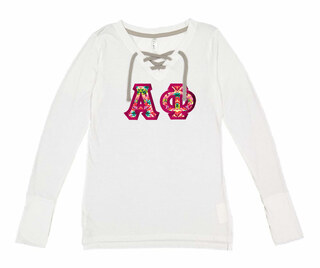 Alpha Phi LAT - Sorority Fine Jersey Lace-Up Long Sleeve T-Shirt