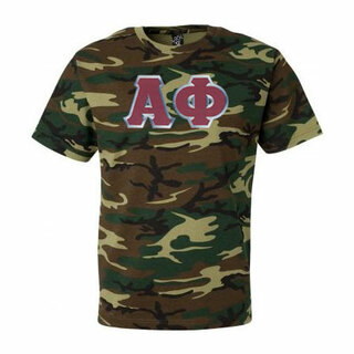 DISCOUNT-Alpha Phi Lettered Camouflage T-Shirt