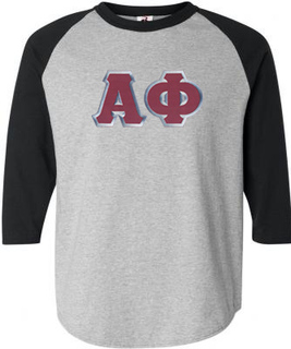 DISCOUNT-Alpha Phi Lettered Raglan Shirt