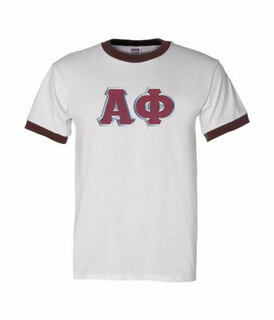 DISCOUNT-Alpha Phi Lettered Ringer Shirt