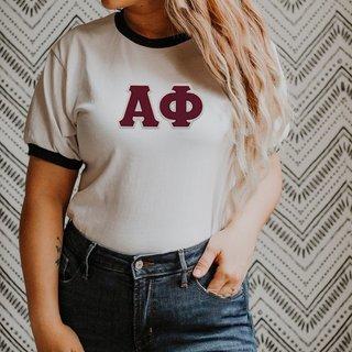 DISCOUNT-Alpha Phi Lettered Ringer Shirt