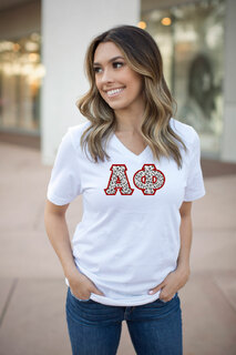 DISCOUNT-Alpha Phi Lettered V-Neck Tee
