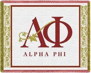 Alpha Phi Letters Afghan Blanket