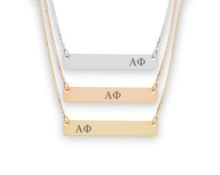 Alpha Phi Letters Bar Necklace