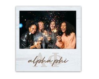 Alpha Phi Letters Script Block Picture Frame
