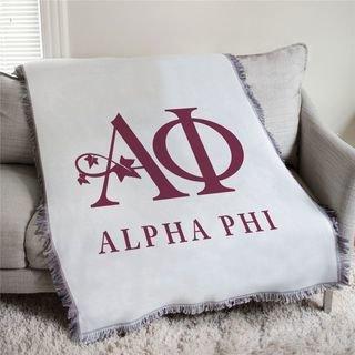 Alpha Phi Logo Afghan Blanket Throw