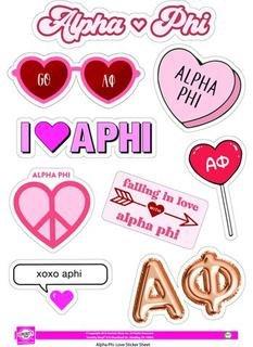 Alpha Phi Love Theme Stickers