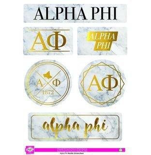 Alpha Phi Marble Sticker Sheet