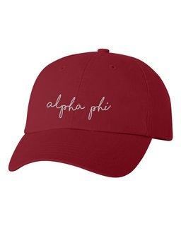 Alpha Phi Smiling Script Greek Hat