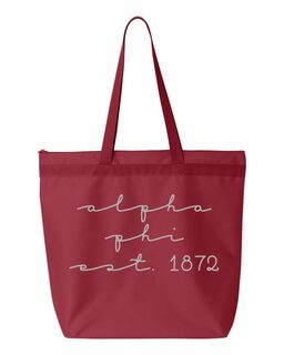 Alpha Phi New Script Established Tote Bag