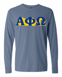 Alpha Phi Omega 3 D Greek Long Sleeve T-Shirt - Comfort Colors