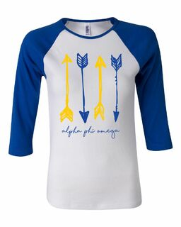 Alpha Phi Omega Arrows Bella + Canvas Baby Rib Raglan