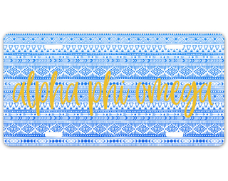 Alpha Phi Omega Aztec License Plate