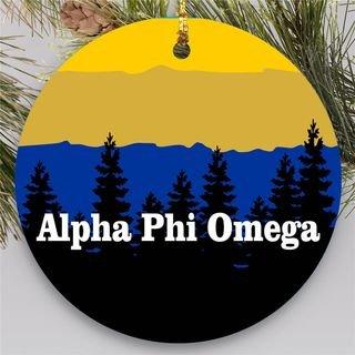Alpha Phi Omega Christmas Mountains Round Ornaments