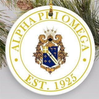 Alpha Phi Omega Circle Crest Round Ornaments