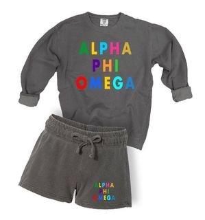 Alpha Phi Omega Comfort Colors Crew and Short Set