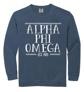 Alpha Phi Omega Comfort Colors Custom Crewneck Sweatshirt