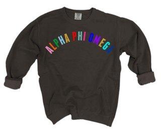 Alpha Phi Omega Comfort Colors Rainbow Arch Crew