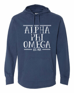 Alpha Phi Omega Comfort Colors Terry Scuba Neck Custom Hooded Pullover