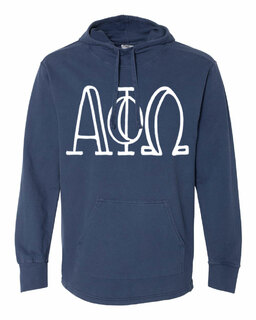 Alpha Phi Omega Comfort Colors - Terry Scuba Neck Greek Hooded Pullover