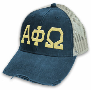 Alpha Phi Omega Distressed Trucker Hat