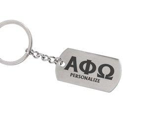Alpha Phi Omega Dog Tag Style Custom Keychain