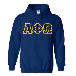 Alpha Phi Omega Fraternity Crest Twill Letter Hooded Sweatshirt