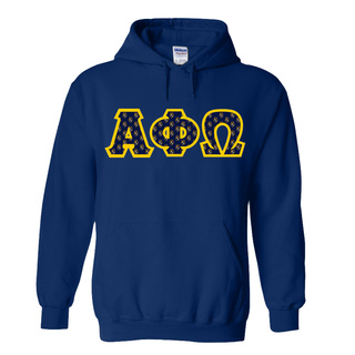 Alpha Phi Omega Fraternity Crest - Shield Twill Letter Hooded Sweatshirt