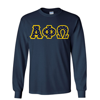Alpha Phi Omega Fraternity Crest - Shield Twill Letter Longsleeve Tee