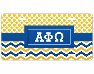 Alpha Phi Omega Geometric License Plate