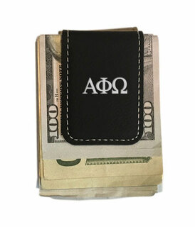 Alpha Phi Omega Greek Letter Leatherette Money Clip