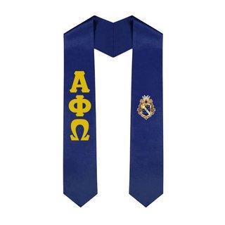 Alpha Phi Omega Greek Lettered Graduation Sash Stole With Crest