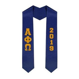Alpha Phi Omega Greek Lettered Graduation Sash Stole With Year - Best Value