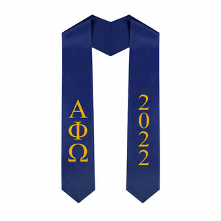 Alpha Phi Omega Greek Lettered Graduation Sash Stole With Year - Best Value