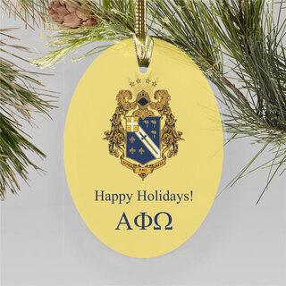 Alpha Phi Omega Holiday Color Crest - Shield Ornament