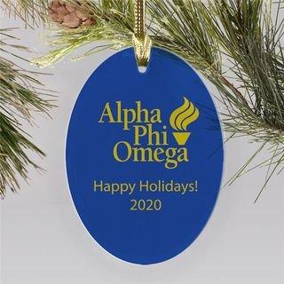 Alpha Phi Omega Holiday Color Mascot Glass Christmas Ornament