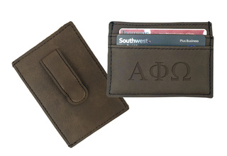 Alpha Phi Omega Leatherette Money Clip