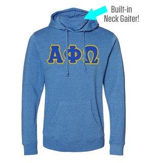 Alpha Phi Omega Lettered Gaiter Fleece Hooded Sweatshirt